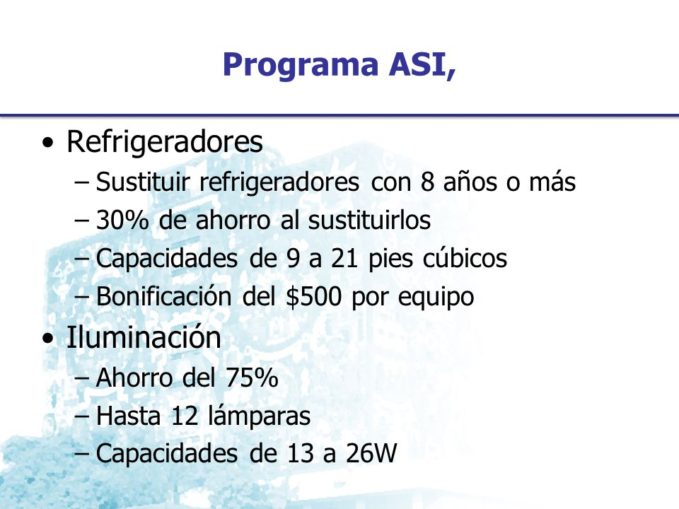 Programa ASI, Refrigeradores Iluminación