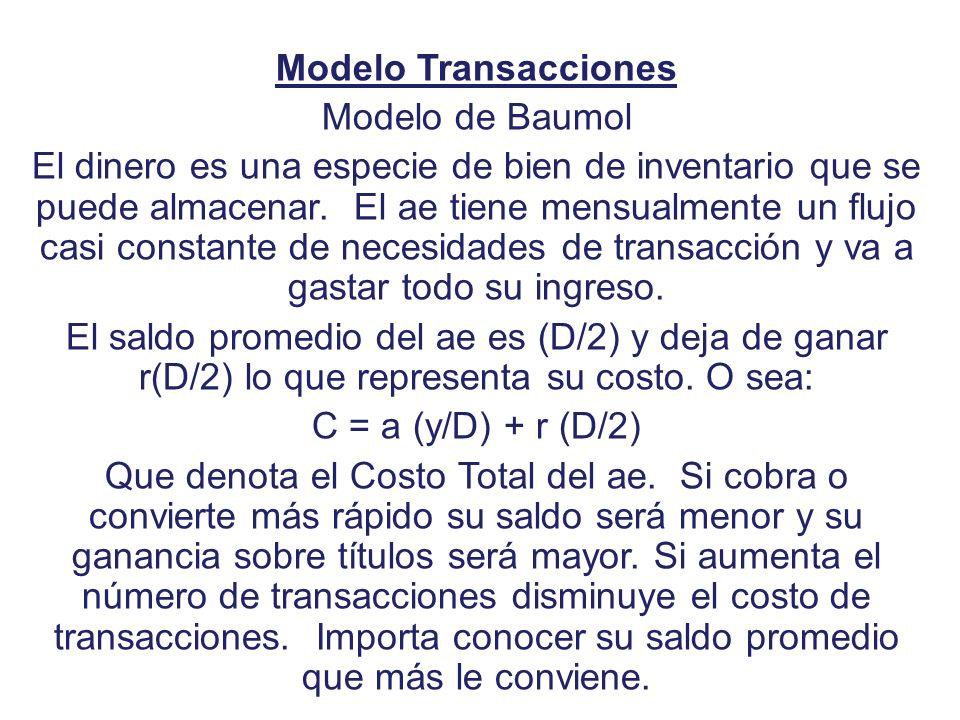 Modelo Transacciones Modelo de Baumol.