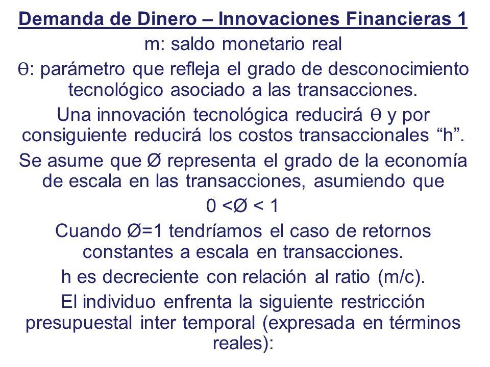 Demanda de Dinero – Innovaciones Financieras 1