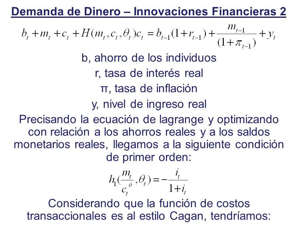 Demanda de Dinero – Innovaciones Financieras 2