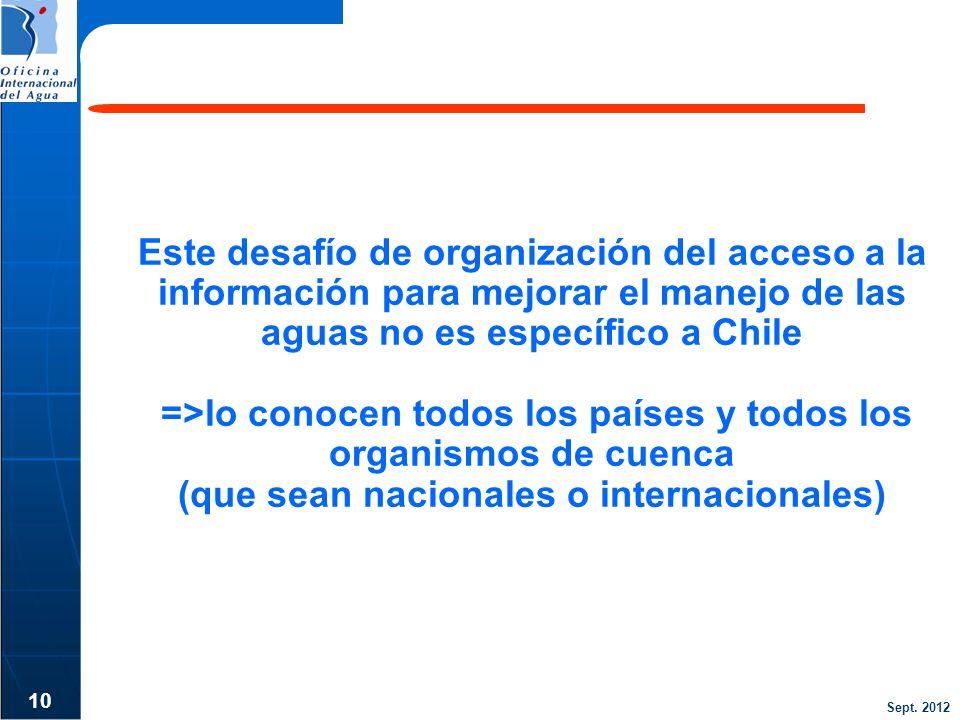 Este desafío de organización del acceso a la información para mejorar el manejo de las aguas no es específico a Chile =>lo conocen todos los países y todos los organismos de cuenca (que sean nacionales o internacionales)
