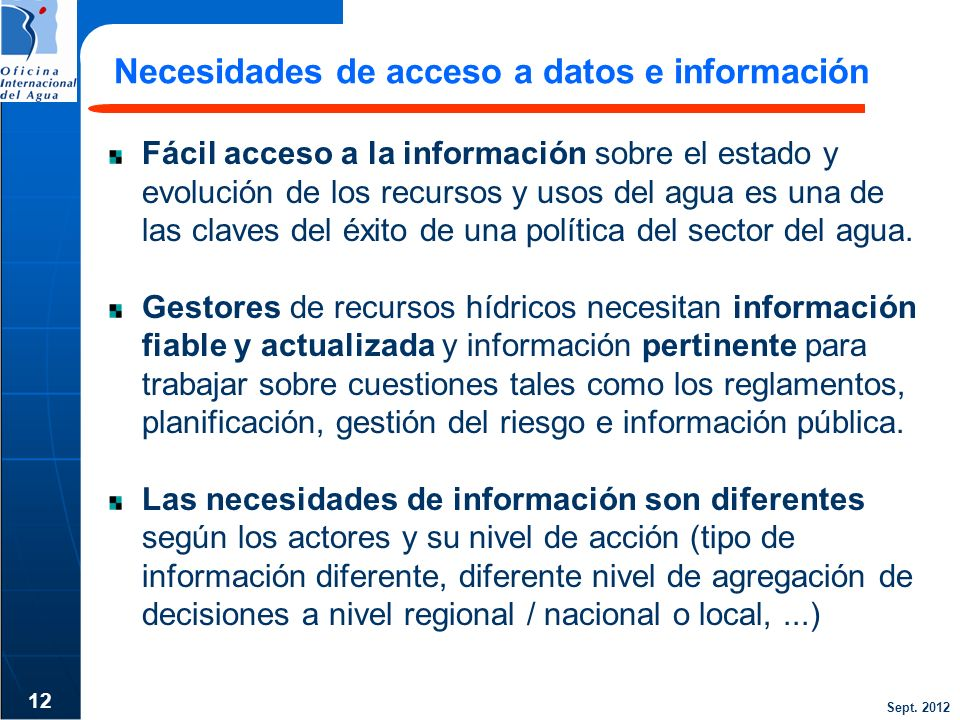 Necesidades de acceso a datos e información