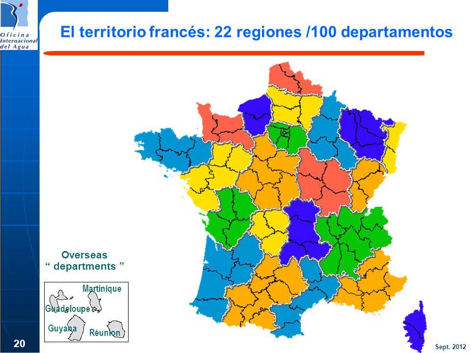 El territorio francés: 22 regiones /100 departamentos