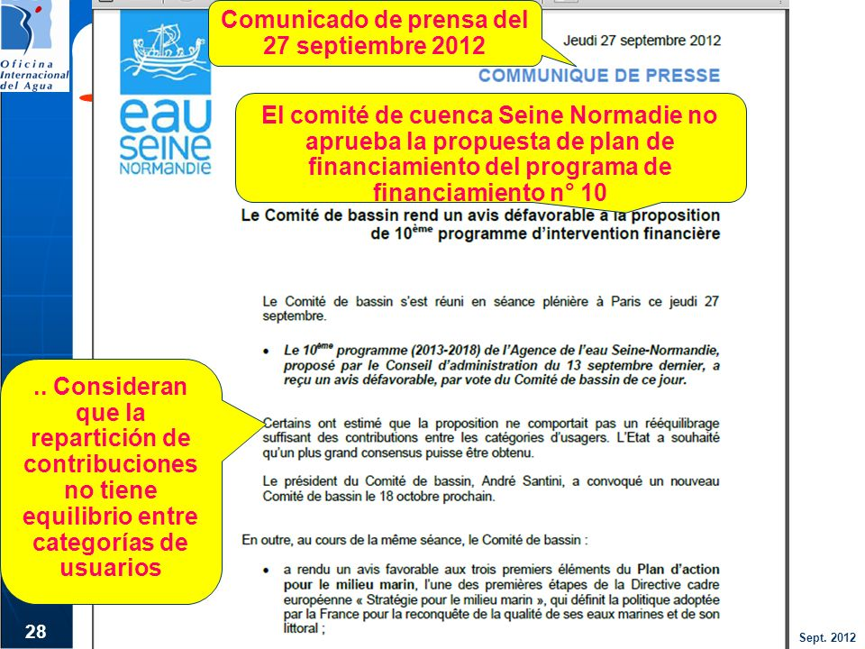 Comunicado de prensa del 27 septiembre 2012