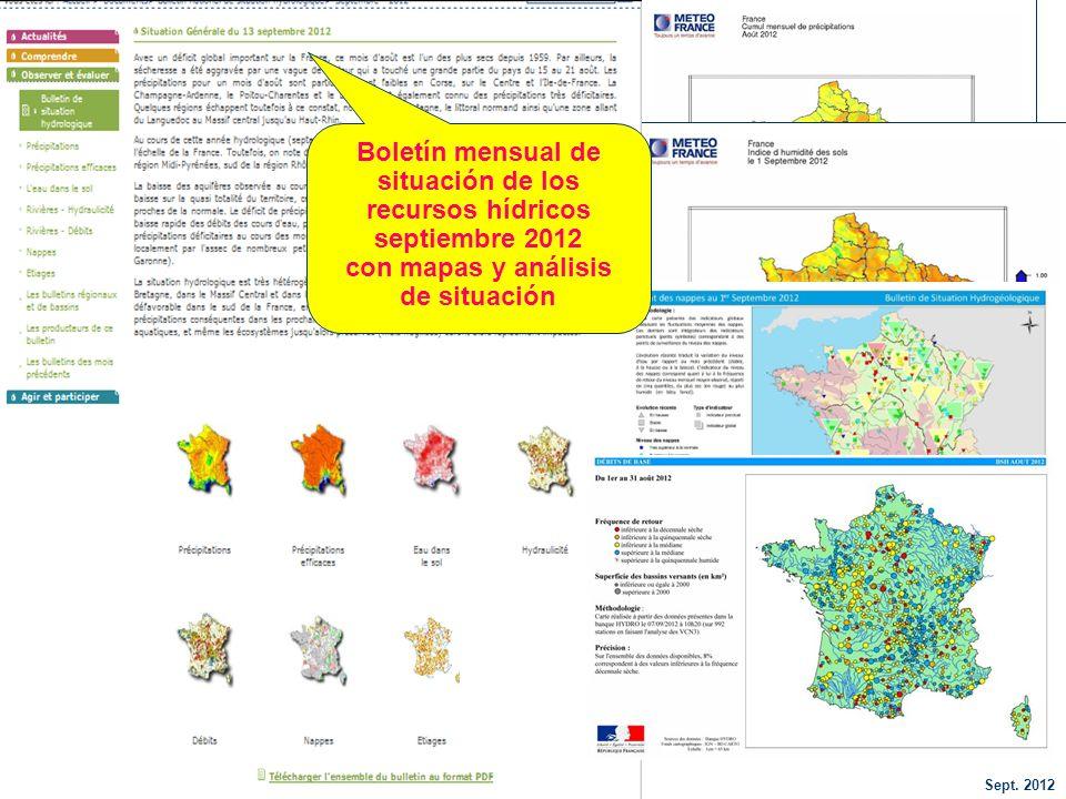 situación de los recursos hídricos septiembre 2012