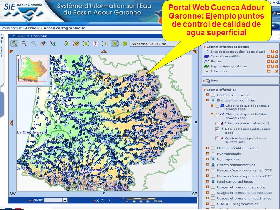 Portal Web Cuenca Adour Garonne: Ejemplo puntos de control de calidad de agua superficial