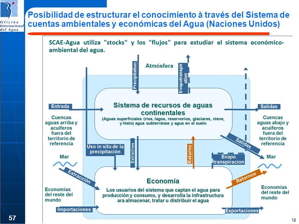 Posibilidad de estructurar el conocimiento à través del Sistema de cuentas ambientales y económicas del Agua (Naciones Unidos)