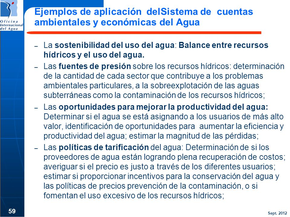 Ejemplos de aplicación delSistema de cuentas ambientales y económicas del Agua