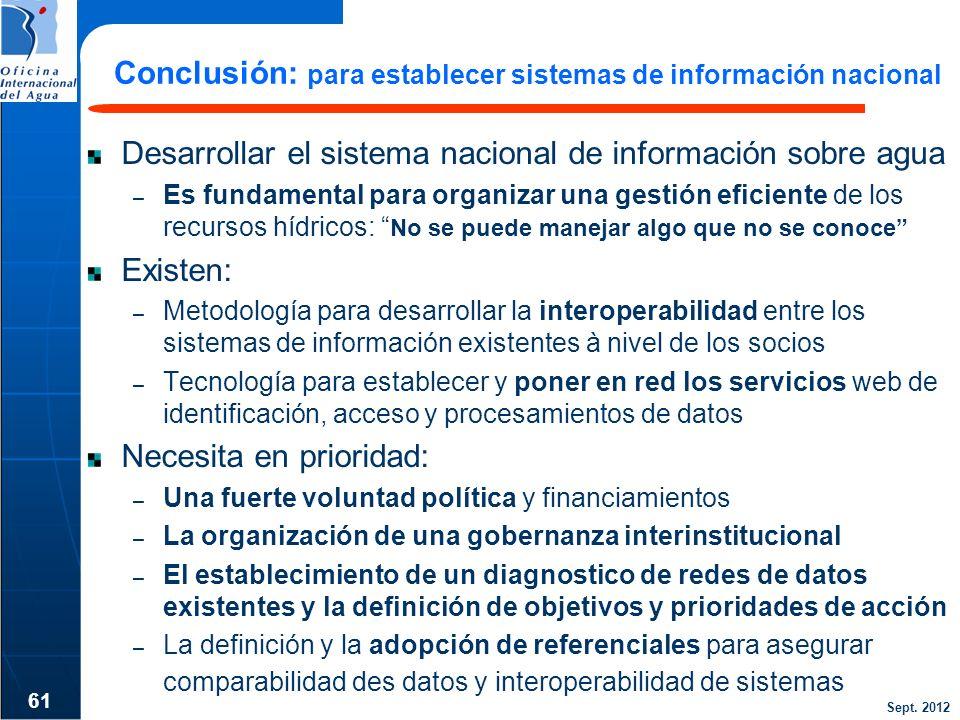 Conclusión: para establecer sistemas de información nacional