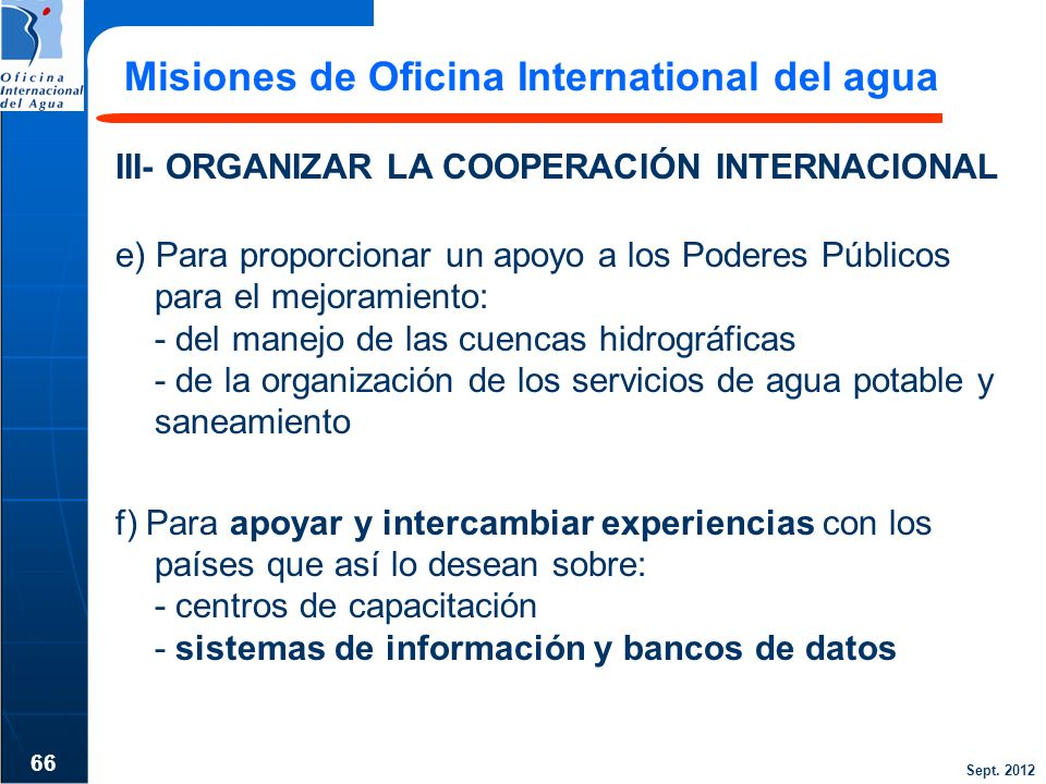 Misiones de Oficina International del agua