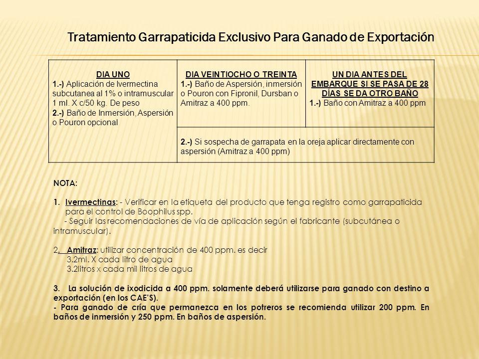 Tratamiento Garrapaticida Exclusivo Para Ganado de Exportación
