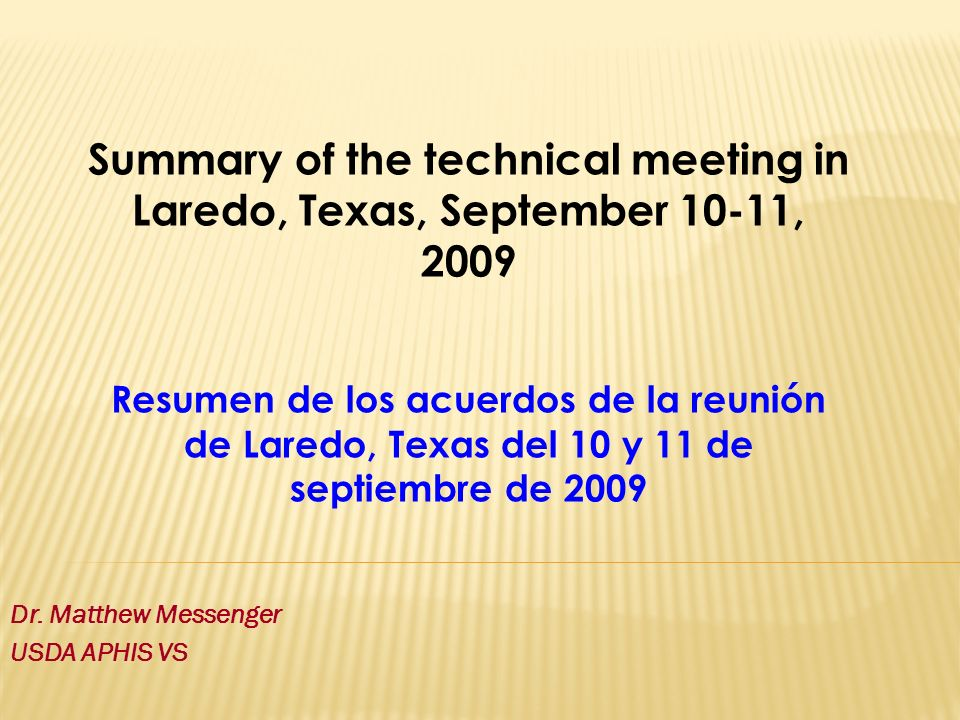 Dr. Matthew Messenger USDA APHIS VS