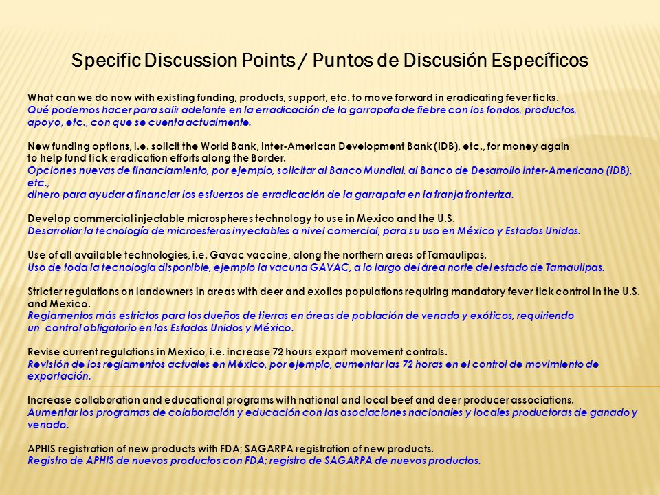 Specific Discussion Points / Puntos de Discusión Específicos