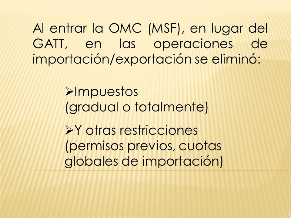 Al entrar la OMC (MSF), en lugar del GATT, en las operaciones de importación/exportación se eliminó: