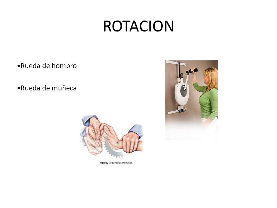 ROTACION •Rueda de hombro •Rueda de muñeca