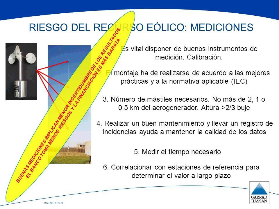 RIESGO DEL RECURSO EÓLICO: MEDICIONES
