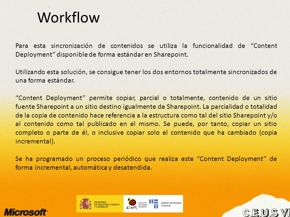 WorkflowPara esta sincronización de contenidos se utiliza la funcionalidad de Content Deployment disponible de forma estándar en Sharepoint.