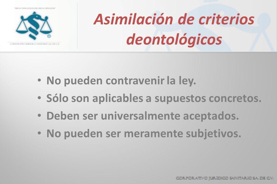 Asimilación de criterios deontológicos