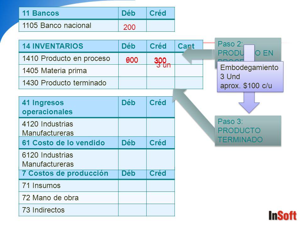 11 Bancos Déb. Créd. 1105 Banco nacional. 200. Paso 2: PRODUCTO EN PROCESO. 14 INVENTARIOS. Déb.