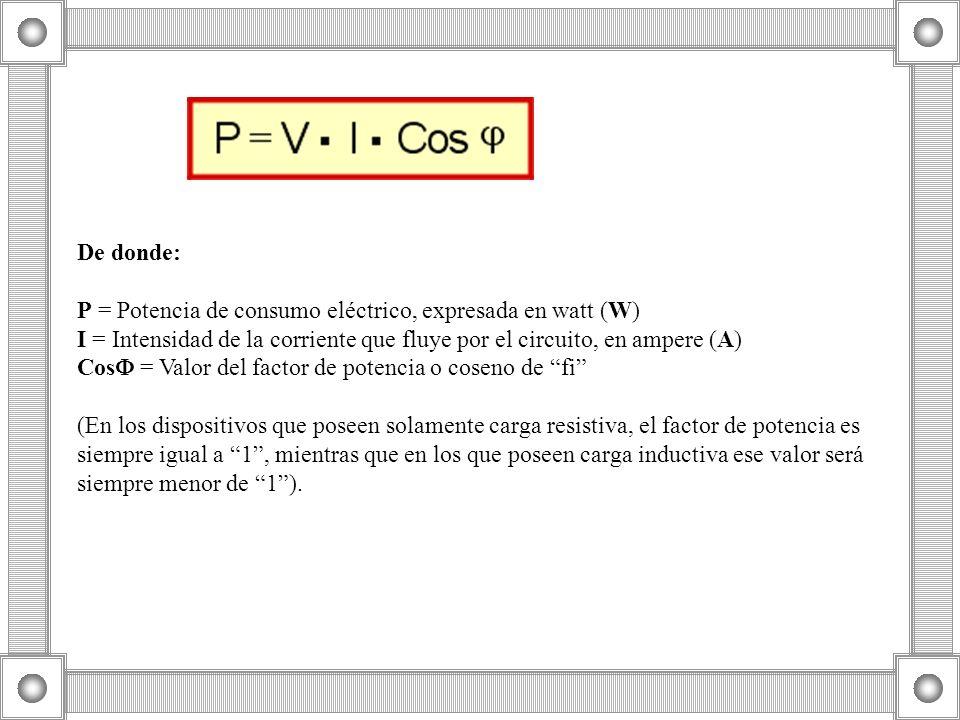 De donde: P = Potencia de consumo eléctrico, expresada en watt (W) I = Intensidad de la corriente que fluye por el circuito, en ampere (A) Cos = Valor del factor de potencia o coseno de fi (En los dispositivos que poseen solamente carga resistiva, el factor de potencia es siempre igual a 1 , mientras que en los que poseen carga inductiva ese valor será siempre menor de 1 ).