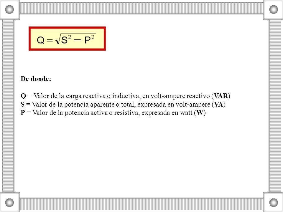 De donde: Q = Valor de la carga reactiva o inductiva, en volt-ampere reactivo (VAR) S = Valor de la potencia aparente o total, expresada en volt-ampere (VA) P = Valor de la potencia activa o resistiva, expresada en watt (W)