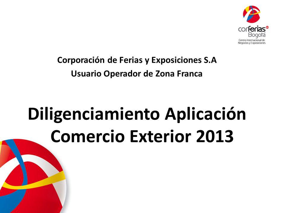 Diligenciamiento Aplicación Comercio Exterior 2013