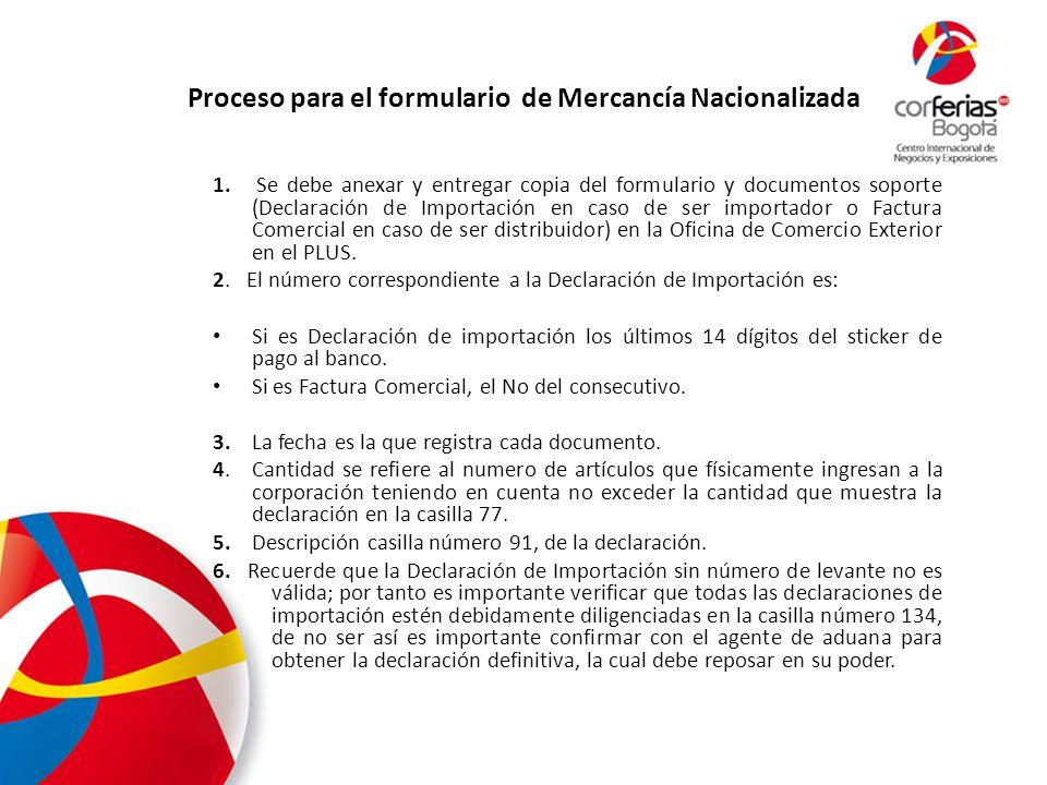 Proceso para el formulario de Mercancía Nacionalizada