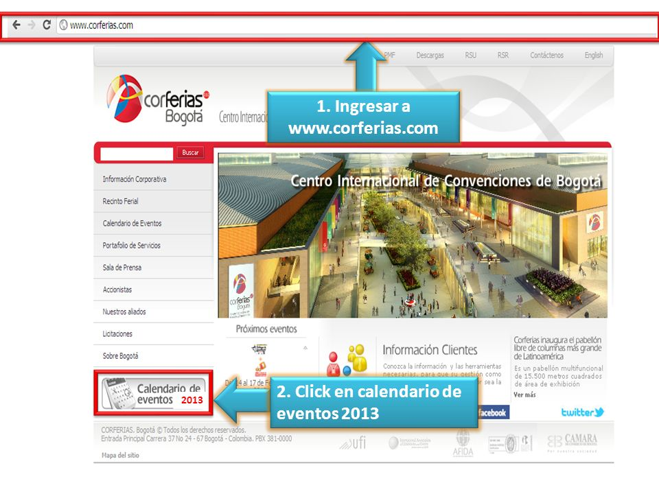 1. Ingresar a www.corferias.com