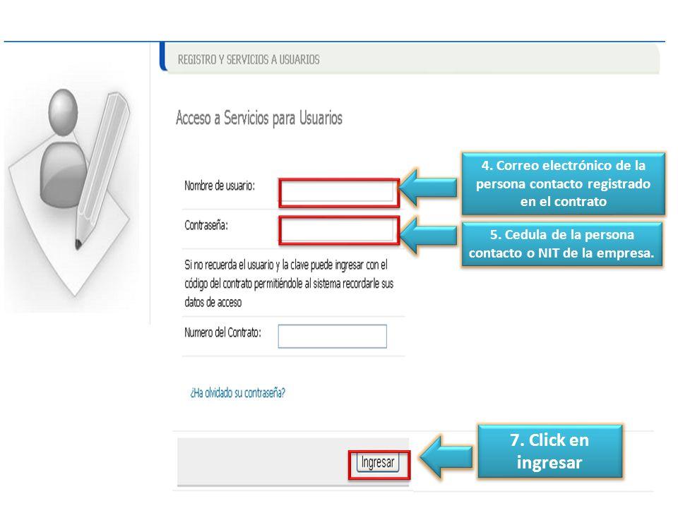 4. Correo electrónico de la persona contacto registrado en el contrato