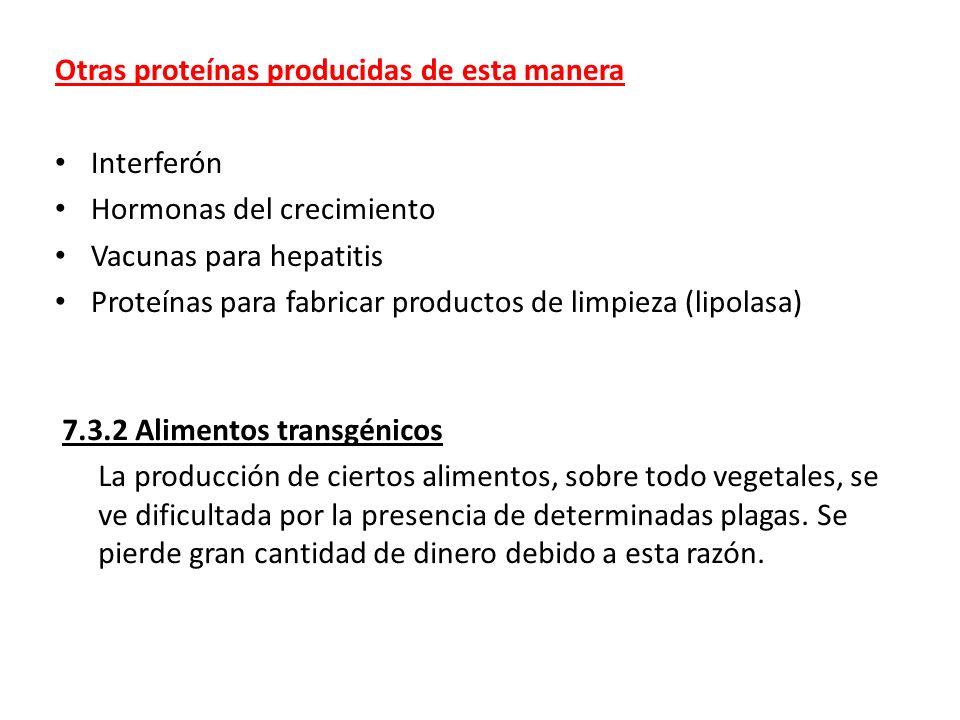 Otras proteínas producidas de esta manera