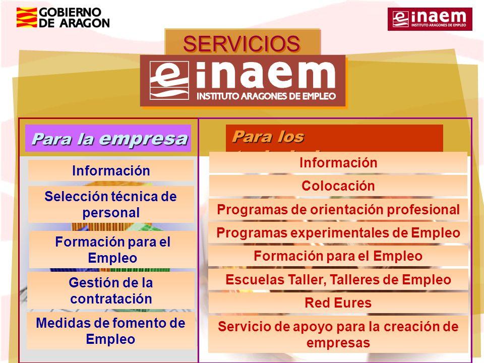 SERVICIOS del Para la empresa Para los trabajadores Información