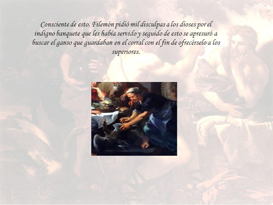 Consciente de esto, Filemón pidió mil disculpas a los dioses por el indigno banquete que les había servido y seguido de esto se apresuró a buscar el ganso que guardaban en el corral con el fin de ofrecérselo a los superiores.
