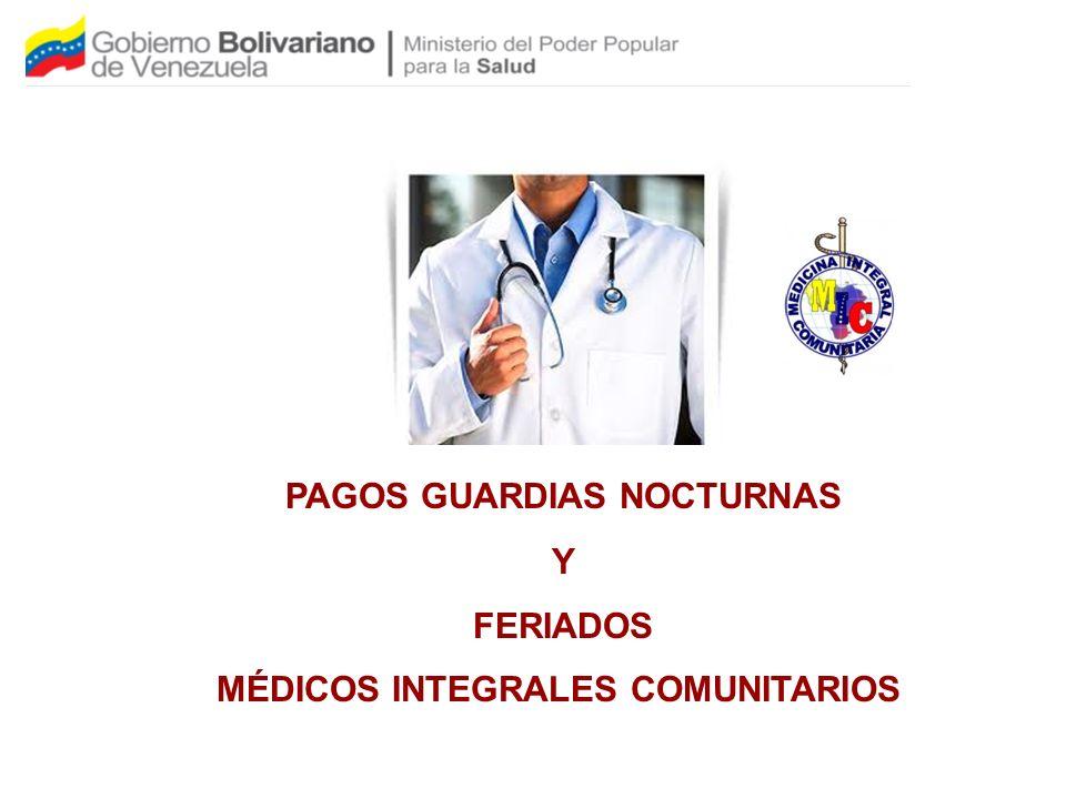 PAGOS GUARDIAS NOCTURNAS MÉDICOS INTEGRALES COMUNITARIOS