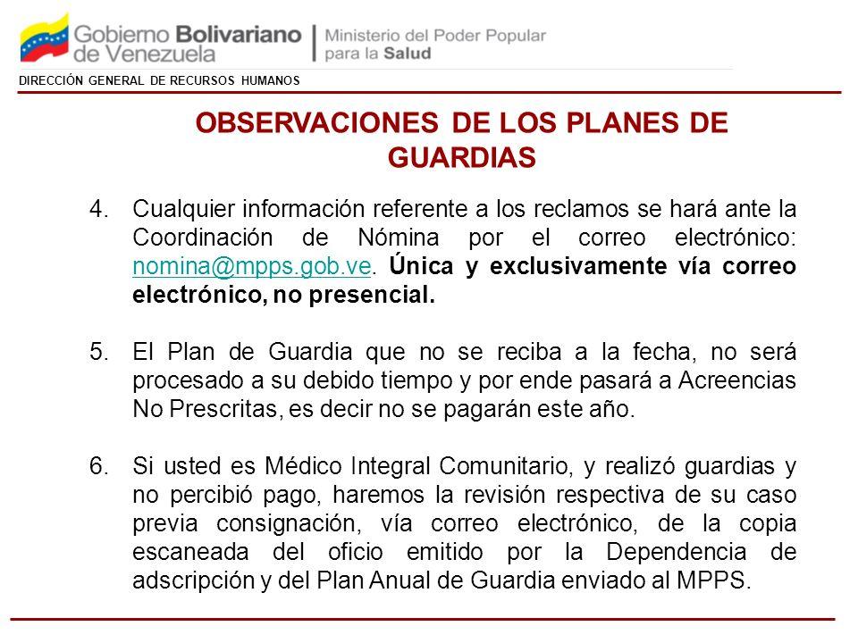 OBSERVACIONES DE LOS PLANES DE GUARDIAS