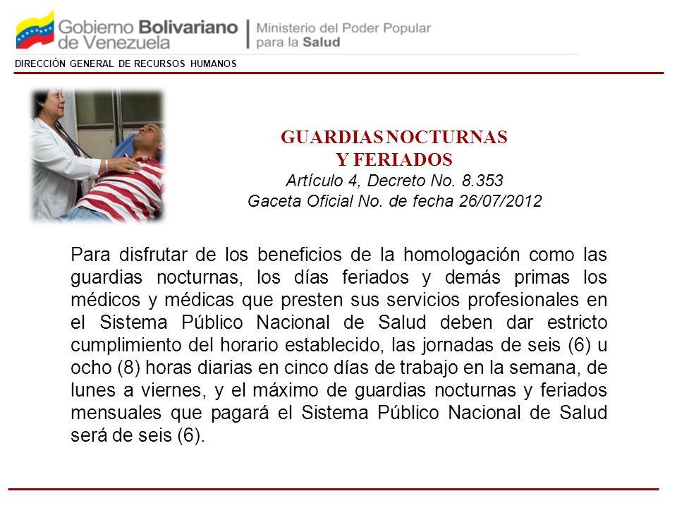 Gaceta Oficial No. de fecha 26/07/2012