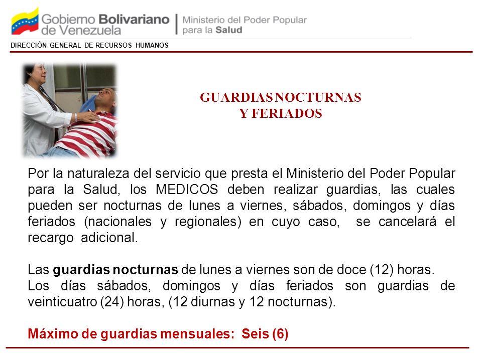 GUARDIAS NOCTURNAS Y FERIADOS