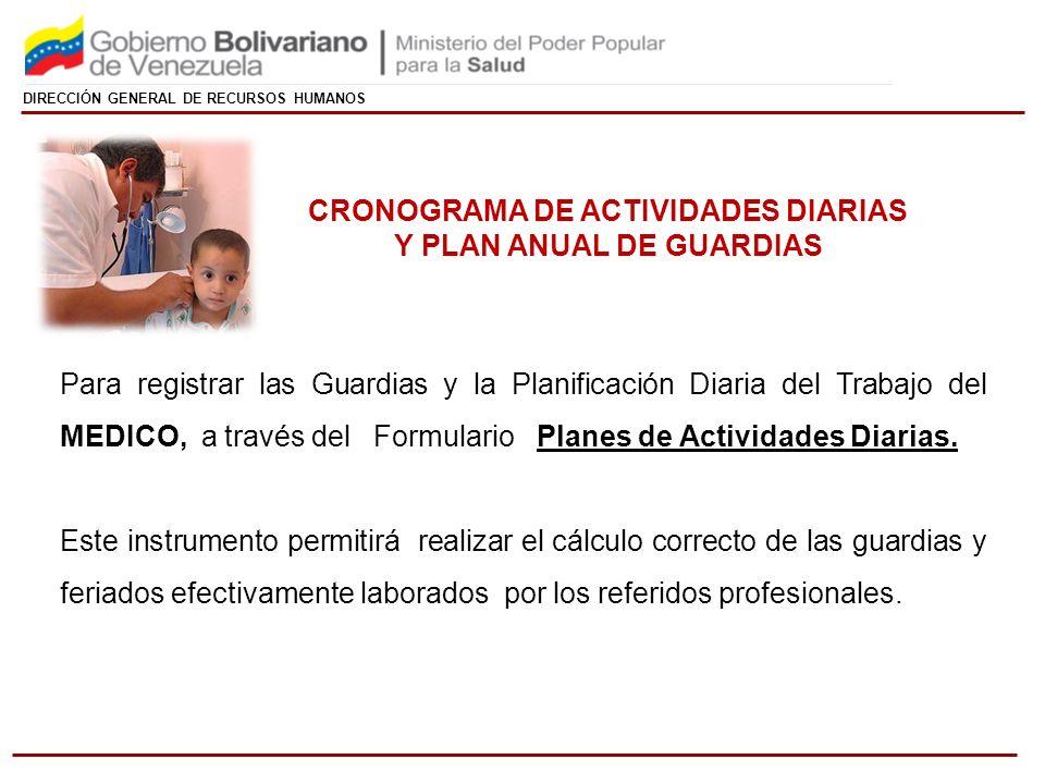 CRONOGRAMA DE ACTIVIDADES DIARIAS Y PLAN ANUAL DE GUARDIAS
