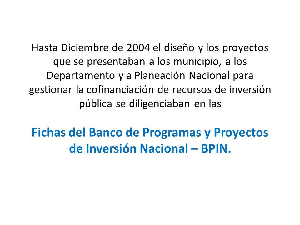 Hasta Diciembre de 2004 el diseño y los proyectos que se presentaban a los municipio, a los Departamento y a Planeación Nacional para gestionar la cofinanciación de recursos de inversión pública se diligenciaban en las Fichas del Banco de Programas y Proyectos de Inversión Nacional – BPIN.