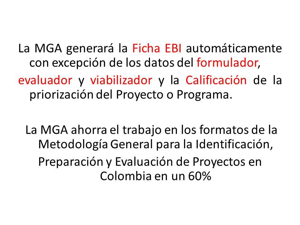 La MGA generará la Ficha EBI automáticamente con excepción de los datos del formulador, evaluador y viabilizador y la Calificación de la priorización del Proyecto o Programa.