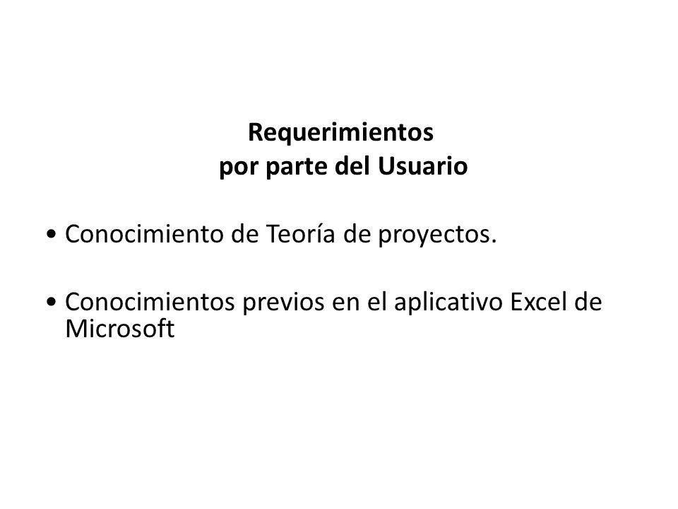 Requerimientos por parte del Usuario • Conocimiento de Teoría de proyectos.