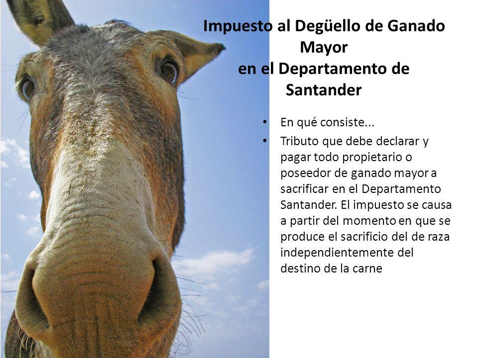 Impuesto al Degüello de Ganado Mayor en el Departamento de Santander