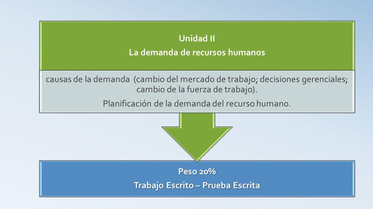 La demanda de recursos humanos Trabajo Escrito – Prueba Escrita