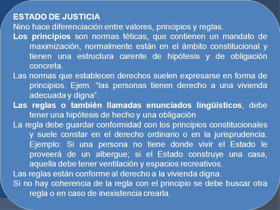 ESTADO DE JUSTICIA Nino hace diferenciación entre valores, principios y reglas.