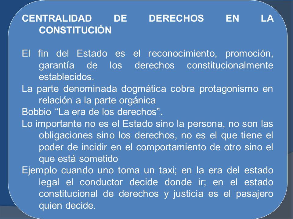 CENTRALIDAD DE DERECHOS EN LA CONSTITUCIÓN