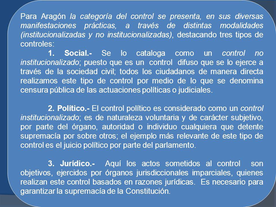 Para Aragón la categoría del control se presenta, en sus diversas manifestaciones prácticas, a través de distintas modalidades (institucionalizadas y no institucionalizadas), destacando tres tipos de controles: