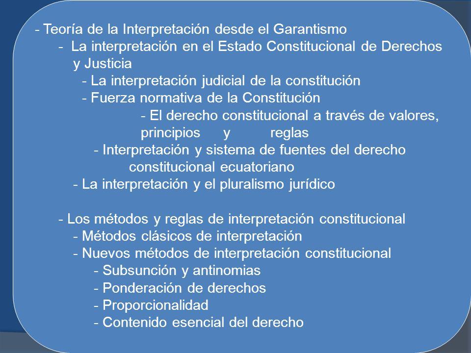 - Teoría de la Interpretación desde el Garantismo