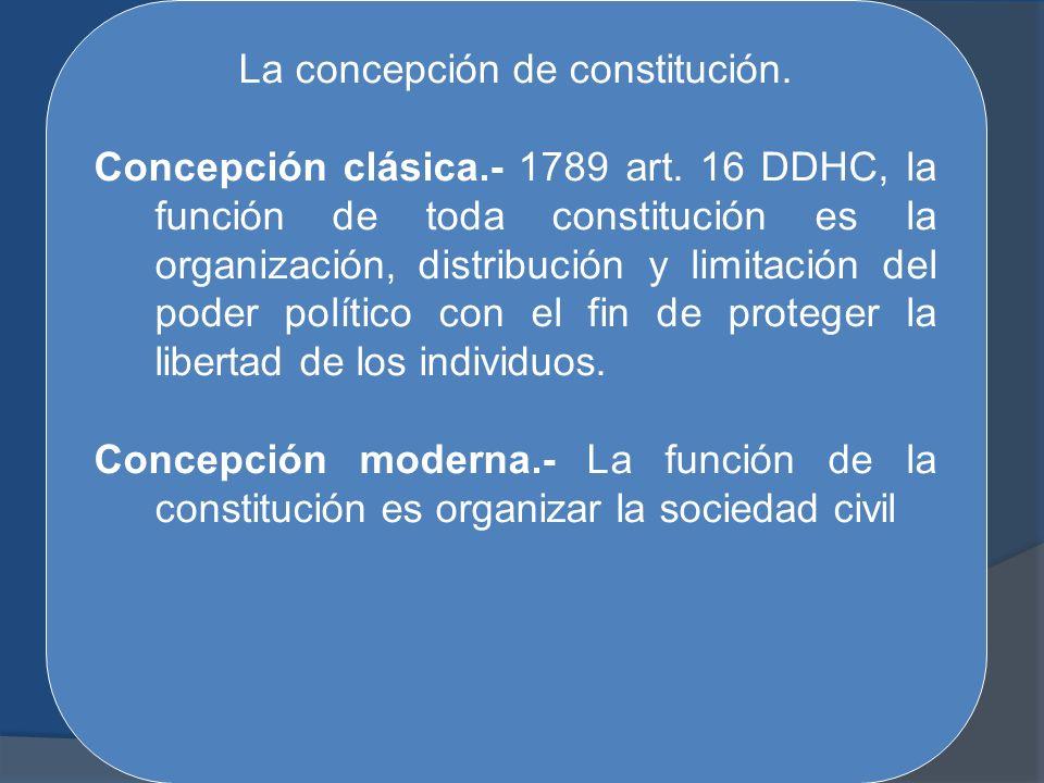La concepción de constitución.