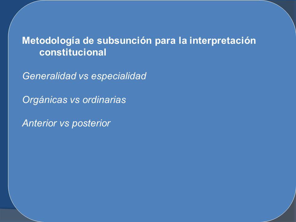 Metodología de subsunción para la interpretación constitucional