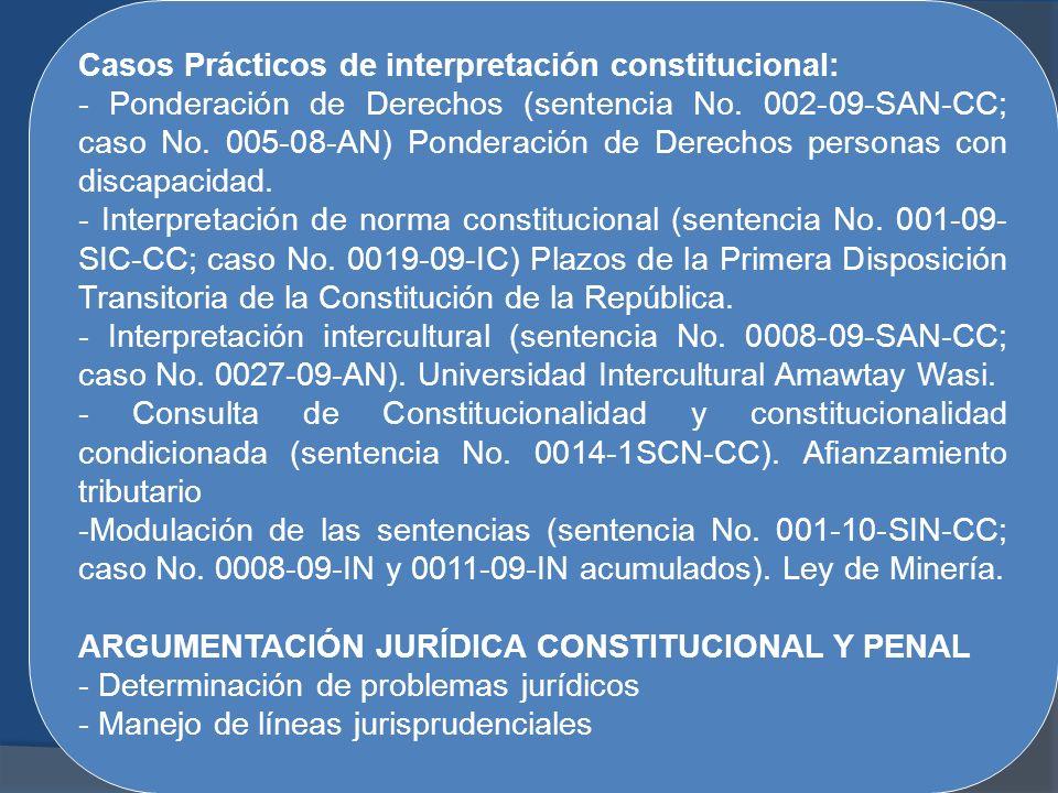 Casos Prácticos de interpretación constitucional: