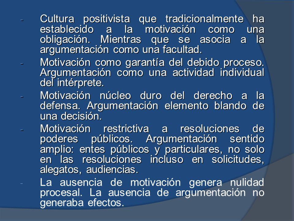 Cultura positivista que tradicionalmente ha establecido a la motivación como una obligación. Mientras que se asocia a la argumentación como una facultad.